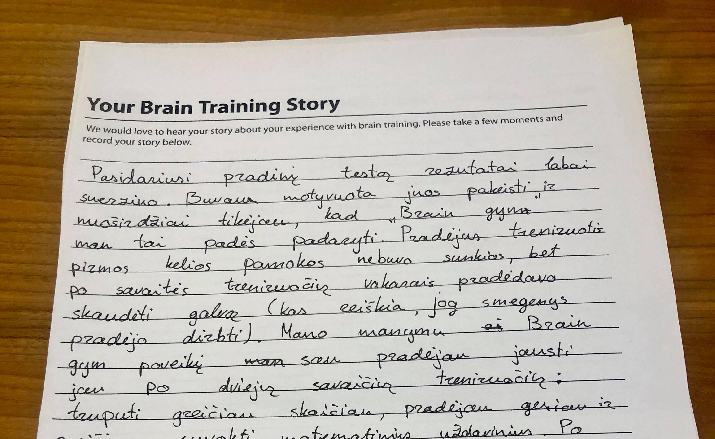 Brain Gym centro lankytojos Emilijos padėka